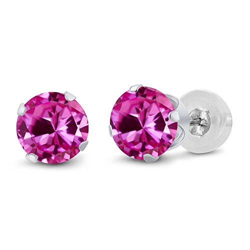2.00 Ct Round 6mm Pink Created Sapphire 14K White Gold Stud Women's Earrings (14k Pink Sapphire Stud Earrings)