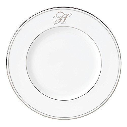 Lenox Federal Platinum Script Monogram Dinnerware Accent Plate, H (Lenox Platinum Federal Flatware)