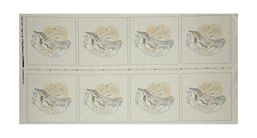 Robert Kaufman Kaufman Birds of Liberty State Blocks Kansas 24in Panel Fabric, Gold/Red/Black