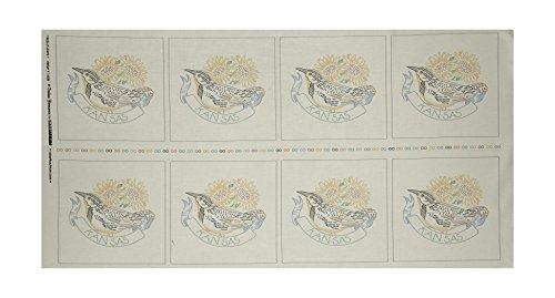 Robert Kaufman Kaufman Birds of Liberty State Blocks Kansas 24in Panel Fabric, Gold/Red/Black