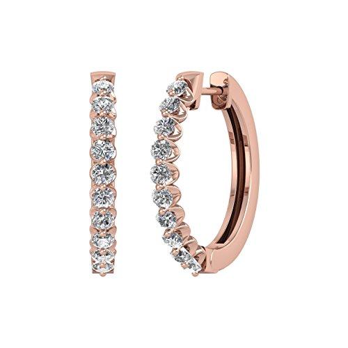 14k Rose Gold Round Diamond Prong Set Hoop & Huggies Earring (1/2 Carat) - IGI Certified ()