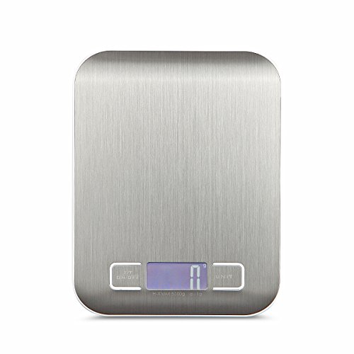 Amtop Digital Kitchen Scale Multifunction Food Scale, 11lb 5KG, Slim design Mini Scale, Waterproof Kitchen Scale, Stainless Steel (Silver) ()