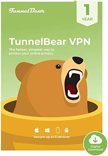 TunnelBear VPN|Wifi and Web Privateness|5 Units|Limitless Information|1 Yr [PC Online code]