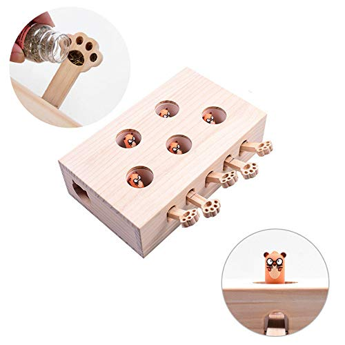 Jnwayb Cat Interactive Toys, Whack a Mole Mouse Exercise Toy, Solid Wood Puzzle Box (Style A)