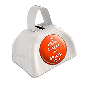 Keep Calm and Skate auf Inline Skaten Weiß Cowbell Kuhglocke