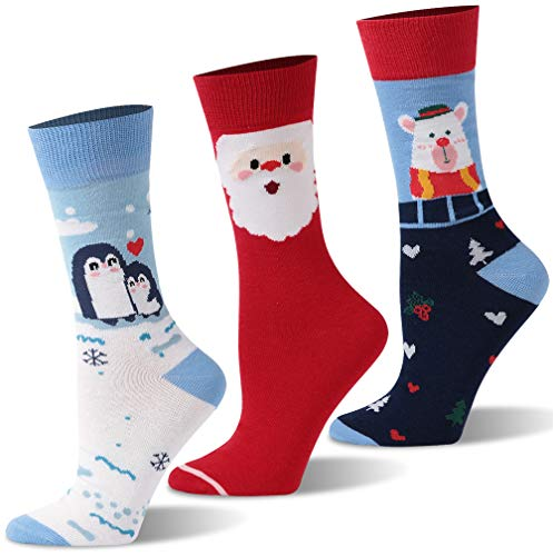 Christmas Socks Novelty, Youth Adult Cute Pattern Cotton Holiday Crew Dress Socks Unisex TXXM 3 Pairs(Penguin&Santa Claus&Bear) Thankgiving Gift for Men Women