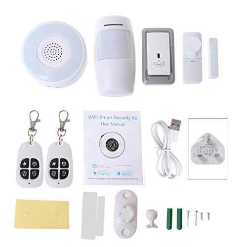 Alarm Systems for Your Home,NAOTAI 1Set Smart Home WiFi Security Alarm Kit Gateway Hub Door Window Sensor PIR Detector…