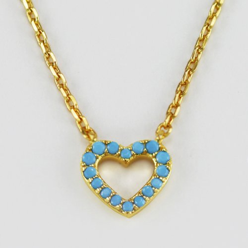 Gold Plated Cool and Interesting Simulated Turquoise Heart Pendant Necklace