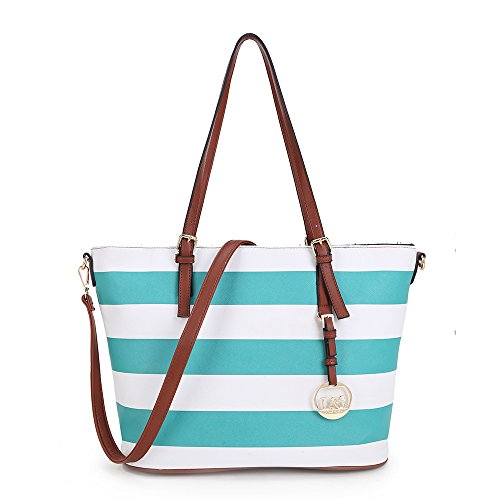 Strap Women's Handle Totes Long with Bag Blue Stripe and LS Adjustable Shoulder Beach Designer 744RA