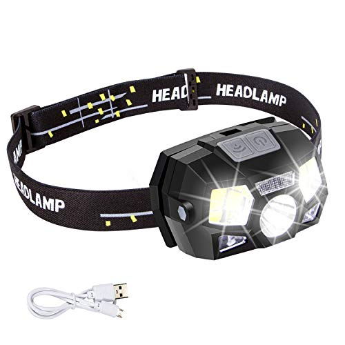 Headlamp Flashlight Rechargeable with USB,Motion Sensor Ultra Bright 1300 Lumens LED+COB Work Headlight Use Time Up to 15H,5 Bright Modes,Waterproof Head Lamp for Running,Camping,Fishing,Hunting