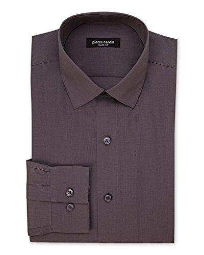 Pierre+Cardin+1796+Slim+Fit+Long+Sleeve+Dress+Shirt+-+Charcoal+-+16+6-7