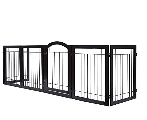 PAWLAND 144-inch Extra Wide 30-inches Tall Dog gate with Door Walk Through, Freestanding Wire Pet Gate for The House, Doorway, Stairs, Pet Puppy Safety Fence, Support Feet Included, Espresso,6 Panels by PAWLAND (Image #4)