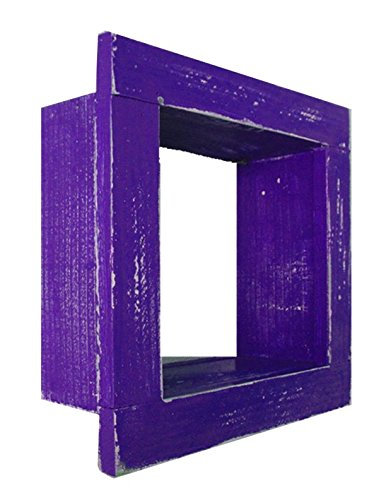 Square Wood / Wooden Shadow Box Display - 9'' x 9'' - Purple - Decorative Reclaimed Distressed Vintage Appeal by IGC