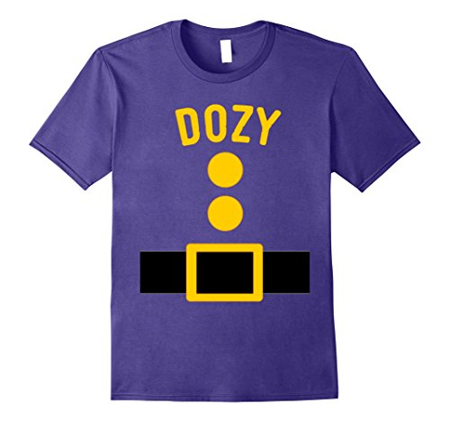 Seven Dwarfs Halloween Costume (Mens Dozy Dwarf Costume T-Shirt Funny Halloween Gift XL Purple)