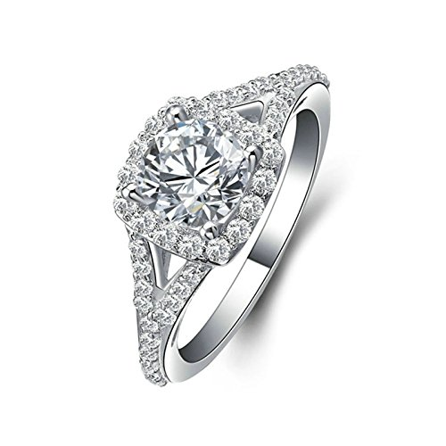Square Shaped Marcasite Ring - Aokarry 925 Sterling Silver Bridal Wedding Rings for Women Square Round Cut White Cubic Zirconia Size 5