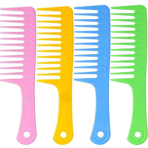 (TecUnite 4 Pieces 9 1/2 Inches Anti-static Large Tooth Detangle Comb, Wide Tooth Hair Comb Salon Shampoo Comb for Thick Hair Long Hair and Curly Hair (Mutil Color 1))