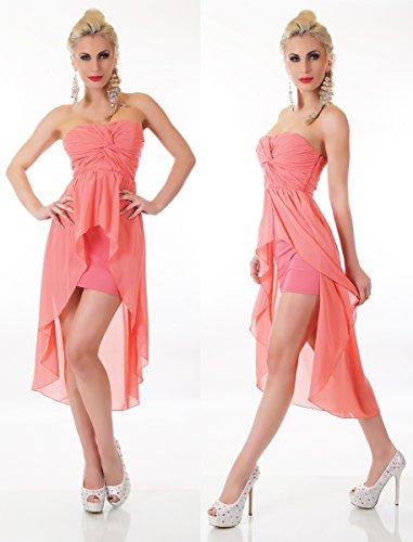 Damen coral Pink Vokuhila Boom Knoten Bandeau K5176 Look Dekolleté Minikleid ga5qAfa