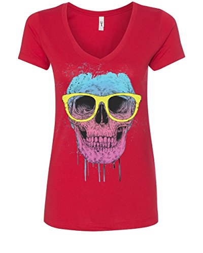 Tee Hunt Skull With Glasses Women's V-Neck T-Shirt Neon Dripping Bleeding Red L