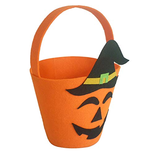 BATOP Halloween Felt Fabric Gift Bag Trick or Treat Candy Bucket with Handle - Halloween Party Costumes Supplies Decorations (Yellow)