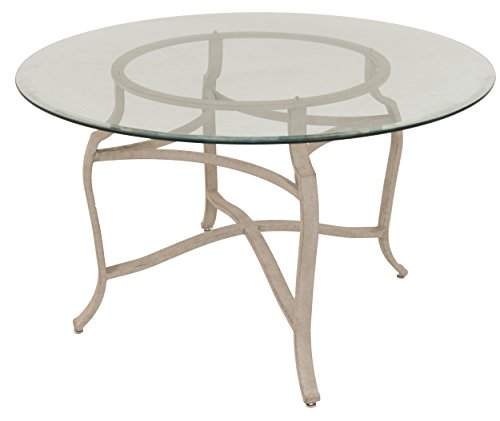 "Impacterra Bermerhaven Round Dining Table, 48"" Diameter, Cinnamon/Clear Glass"