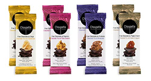 Choupette Dark Chocolate Bar Gift Set Variety Pack (8 Bars) - Dark Chocolate Pretzel, Dark Chocolate Popcorn, Dark Chocolate Maple Crunch, Dark Chocolate Potato Chips - Stocking Stuffers