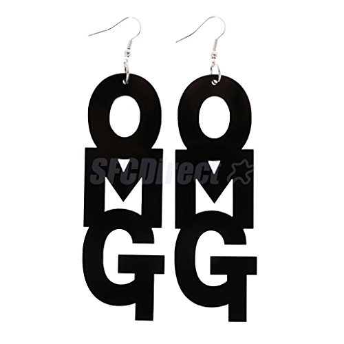 Cool Large OMG Letters Dangle Drop Earring Girl Hip-hop Accessory Black by sfcdirect