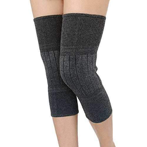 Accordy Wool Cashmere Knee Brace Pads Winter Warm Thermal Knee Compression Sleeve for Women Men,Gray,2-Per Pack(1 Pair)