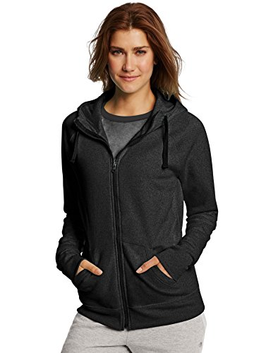 Champion Women's Fleece Full-Zip Hoodie, Black, (Fleece Full Zip Hood Sweatshirt)