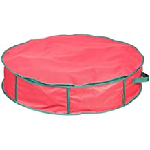 """Hold N Storage Christmas Wreath Storage Bag - 30"""" Diameter x 6.5"""" Height Storage Bag for Holiday Wreaths, Decorations with Center Storage, Handles & Zipper"""