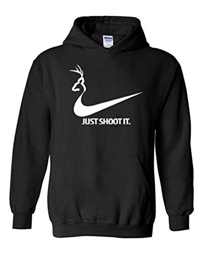 Just Shoot It Mens Deer Hunting Hoodie Black L