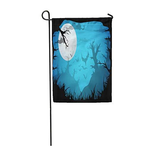 Semtomn Garden Flag Halloween Blue Spooky A4 Border Moon Death Trees 28