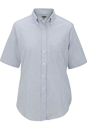 Edwards Ladies' Short Sleeve Oxford Shirt 2XL Blue Stripe