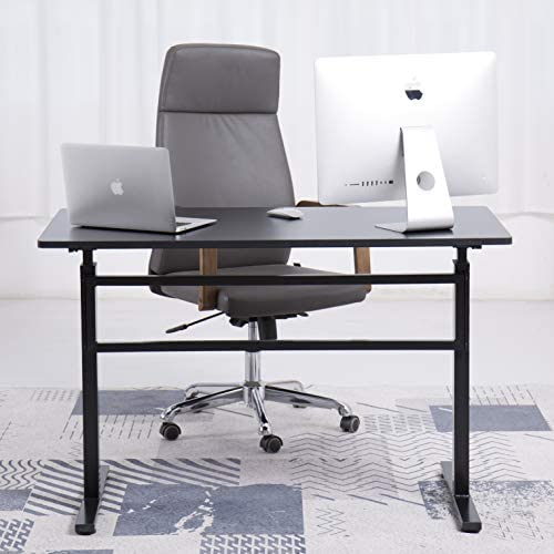 UNICOO – Crank Adjustable Height Standing Desk, Height Adjustable Sit to Stand up Desk,Home Office Computer Table, Writing Study Table Black Top Black Legs