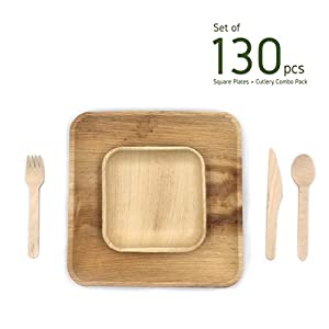 minliving Palm Leaf Square Plates with Cutlery Set of 130 pieces Contains 25 pieces 10 inch and 5 pieces 6 inch Palm Leaf Plates with Premium Wooden Birch Cutlery 50 Forks 25 Spoons and 25 Knife