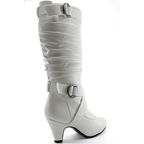 DailyZapatos Mujeres Slouchy Mid Calf Strappy Botas Con Tobillo Y Correas Superiores - 2 Tacones De Moda, 6.5 B (m) Us, White Pu