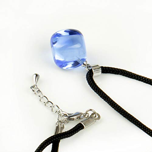 - natural india agate colorful jade stone pendants small black rope necklace pendant chain red string send boys girls (blue crystal (synthesis)