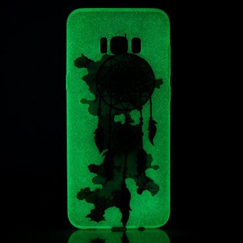 Samsung galaxy S8 Gel de Silicona Funda [con Gratis Lápiz táctil] KaseHom Efecto Luminoso Noctilucent Verde Brillan en la Oscuridad Guay Moda Vistoso Patrón Diseño Transparente Ultra Fino DelgadoClar Vistoso Carillón de viento