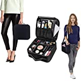 Toiletry Make up Bag With Removable Shoulder Strap Large Space Travel Wash Bag Waterproof Case Makeup Train Case with Adjustable Dividers Travel Cosmetic Bag Organize Case with Brush Holders Well Organization and Storage Portable Black 26x24x10 cm