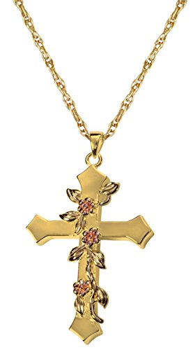 Memorial Gallery 3306gp Rose Vine Cross 14K Gold/Sterling Silver Plating Cremation Pet Jewelry by Memorial Gallery
