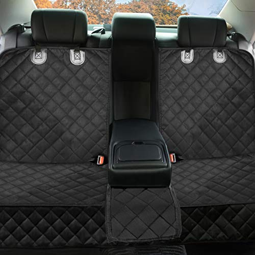 Dog Car Seat Covers Pet Seat Cover, Waterproof Nonslip Bench Rear Seat Cover Compatible for Middle Seat Belt Fits Most Cars, Trucks and SUVs MPVs, Bucket & Bench Available