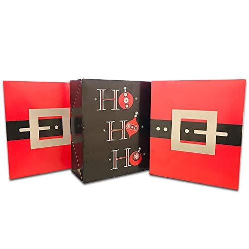 Crenstone Christmas Gift Boxes Set - 3 Medium Christmas Gift Boxes with Lids (Santa, Ornament Designs) - Santa Christmas Box