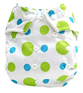 """Kawaii Baby Good Night Heavy Wetter One Size Pocket Cloth Diaper with 2 Large Microfiber Inserts """" Lime Dotty """""""