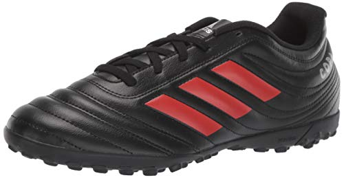 adidas Men's Copa 19.4 Turf Soccer Shoe, Black/hi-res red/Silver Metallic, 12.5 M US