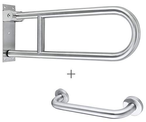 Flip Up Grab Bar for Bathroom - 25 Inches - Stainless Steel Toilet Safety Rail - Concealed Mounting Flanges - Hardware Included - ADA Compliant - Free Grab Bar Included