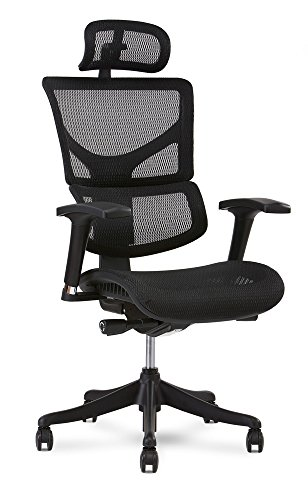X Chair X1 Task Chair, Black Flex Mesh with Headrest