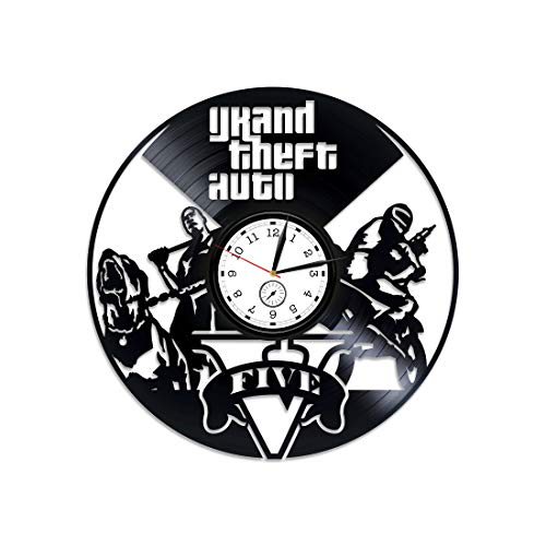 Kovides Grand Theft Auto 5 Vinyl Wall Clock GTA Vinyl Clock GTA Wall Clock Modern GTA Gift Online Game GTA Wall Art GTA 5 GTA Online Clock GTA Vinyl Record Wall Clock Grand Theft Auto Gift for Gamer