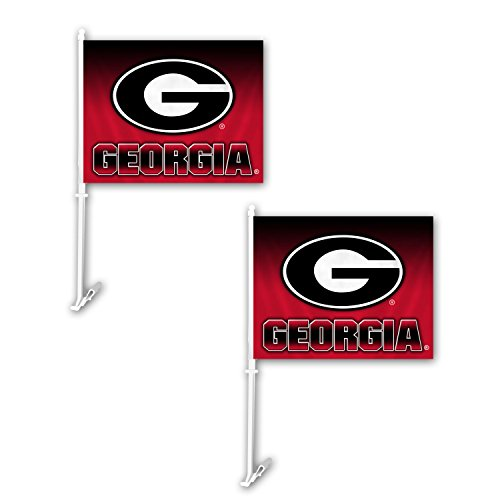 Football Car Flag - Fremont Die NCAA Georgia Bulldogs Ombre Car Flag (2 Pack), One Size, Red