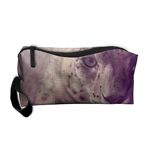 Cosmetic Bags Brush Pouch Makeup Bag Snow Leopard Purple Light Zipper Wallet Hangbag Pen Organizer Carry Case Wristlet -