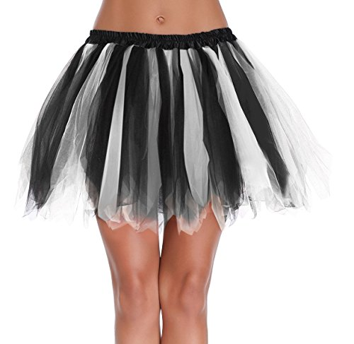 V28® Women's Teen's 1950s Vintage Tutu Tulle Petticoat Ballet Bubble Skirt (Regular Size (US: 0-12), (Black Halloween Tutu)
