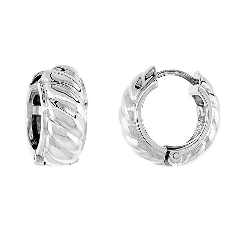 Sterling Silver Huggie Earrings Rope-designed Flawless Finish, 11/16 inch by Sabrina Silver